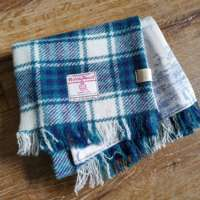 Handwoven Harris Tweed Turquoise Scarf thumbnail