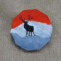 Stag and Mountain Brooch thumbnail