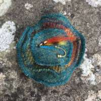 Teal, Orange and Gold Harris Tweed Brooch thumbnail