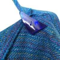 Handwoven Harris Tweed Blue Shawl with Rainbow Warp thumbnail