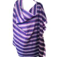 Handwoven Harris Tweed Purple Stripe Shawl thumbnail