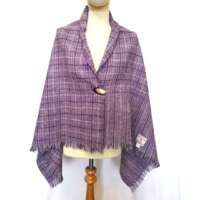 Handwoven Harris Tweed Purple Check Shawl thumbnail