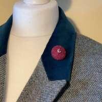 Wine Embellished Harris Tweed Brooch thumbnail